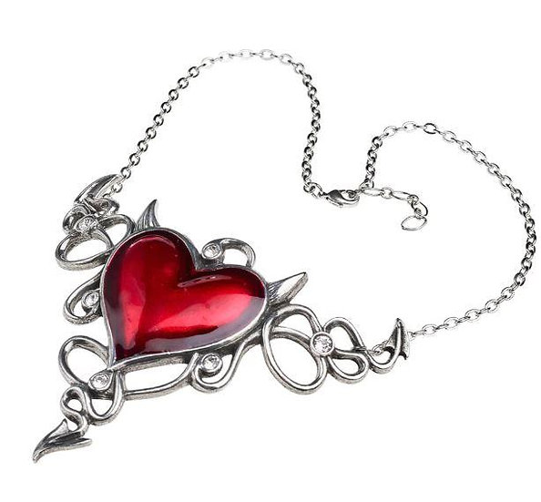 Devil Heart Flying Heart Necklace Pendant by Alchemy Gothic 1977