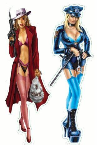 Mini Bad Girl Good Girl Mobster Cop Pin-up Stickers