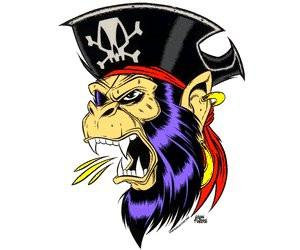 Pirate Captains Screaming Monkey Sticker