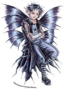 Goth Guy Black Fairy Sticker