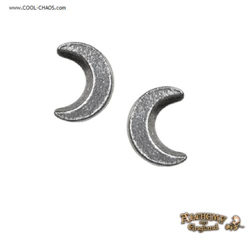 Crescent Moon Earrings / Stud Pewter Earrings,Alchemy Gothic 1977 Lunari energy