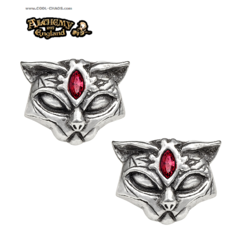 Red Crystal Goddess Sacred Cat Earrings,Alchemy Gothic '77,Pewter Cats Earrings
