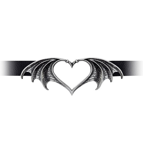 Black Choker Vampire Bat Night Love Pewter Heart Necklace by Alchemy Gothic 1977