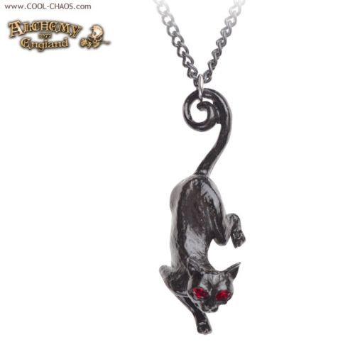 Pewter Black Cat Goddess Necklace by Alchemy Gothic 1977