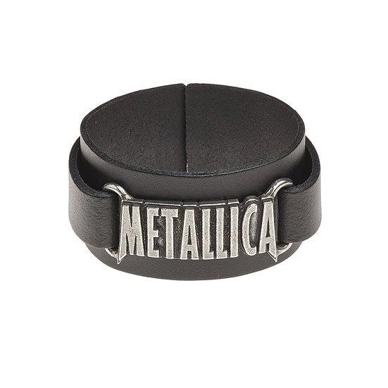 Metallica Leather Wriststrap / Leather Pewter Rock Bracelet