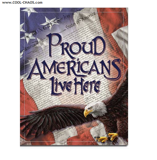 US Flag American Eagle Tin Sign / Proud Americans Live Here Sign
