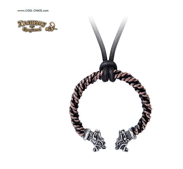 Pewter Dragons Head Wire Torque Necklace / Black corded pendant necklace