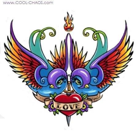 Tattoo Swallow Love Birds Love Sticker