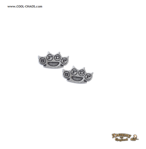 Five Finger Death Punch Earrings / 5FDP Knuckle Duster Pewter Studs