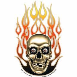 Psycho Flames Skull Sticker