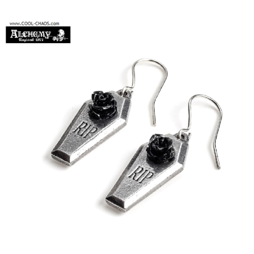 Rest in Peace Coffin Black Rose Earrings by Alchemy Gothic 77
