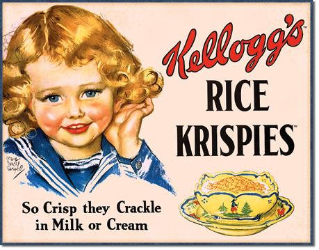 Cute Vintage Ad Kellogg's Rice Krispies Replica Tin Sign