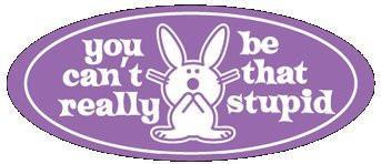 its Happy Bunny Sticker #2 Purple You be Stupid