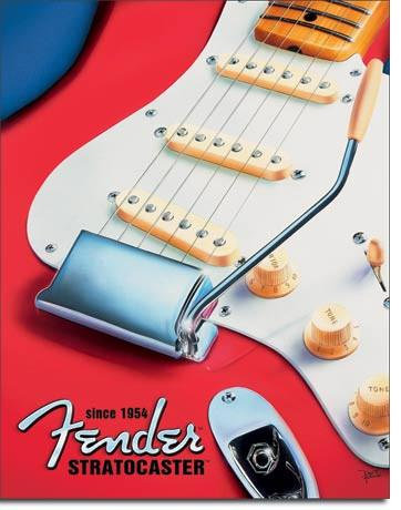 Fender Guitar Ad Tin Sign