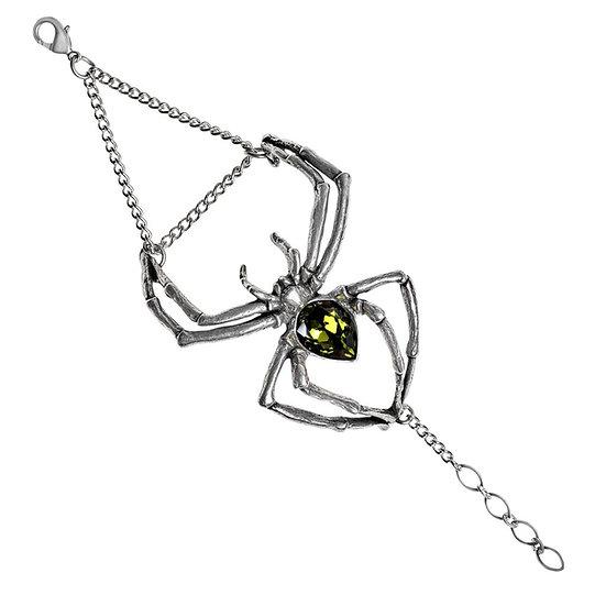 Emerald Crystal Venom Spider Pewter Bracelet