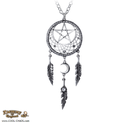 Mystic Pagan Moon Pewter Dreamcatcher Necklace,Crystal,Alchemy Gothic 1977