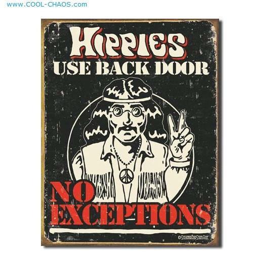 Hippies Use Back Door-Retro Hippie Sign