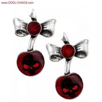 Black Cherry Tattoo Pewter Earrings