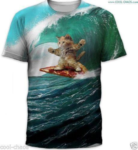 Pizza Surf Cat Men's T-Shirt Crazy Cool Sublimation Tee