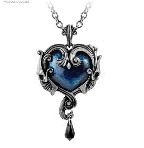 Ornate Skull Tattoo Heart Necklace-Pewter Heart Midnight Blue Stone,Drop Crystal