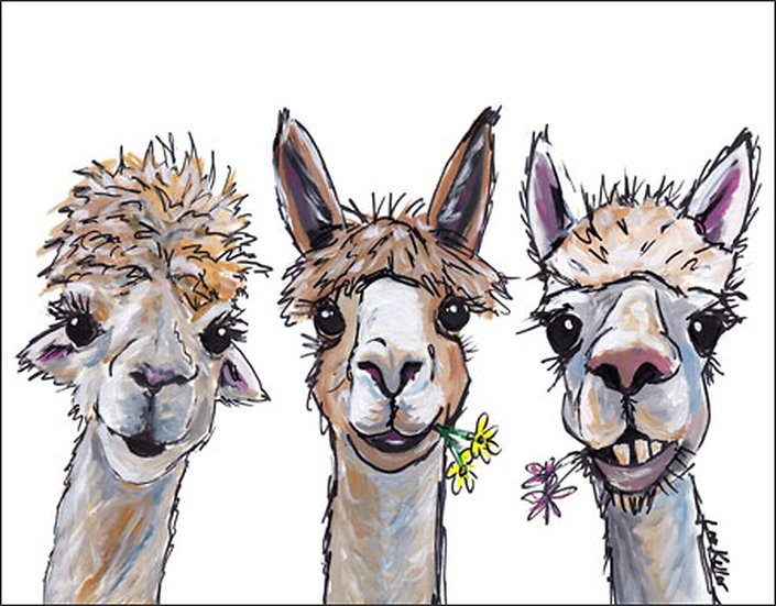 3 Best Friends Forever BFF Alpaca Tin Sign