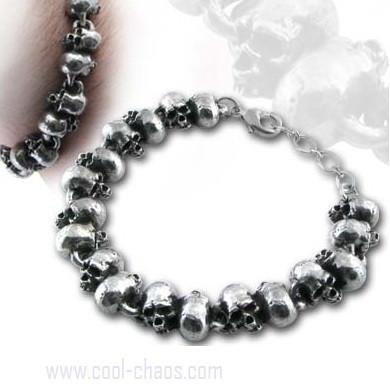 Pewter Skull Beads Bracelet