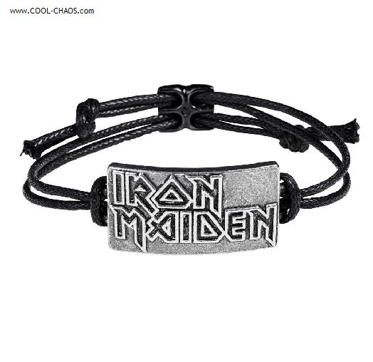 Iron Maiden bracelet / black corded wrist bracelet pewter logo bracelet