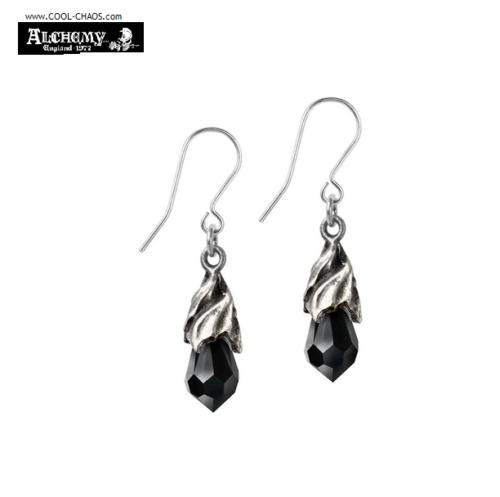 Tears from Heaven Pewter Earrings / Black Crystal Drop Earrings
