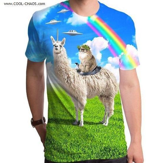Llama Unicorn Alien Cat T-Shirt / Men's Sublimated Tee