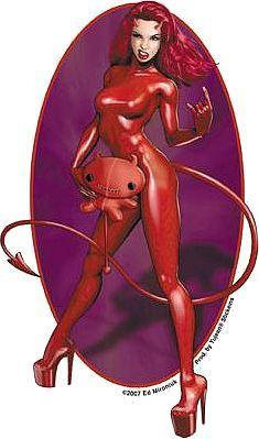 Devil Horns Rocker Chick Pin-up Devil Sticker