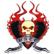 Hate Love Skull Sticker