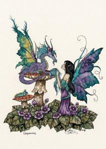 Fairy Dragon Art Postcard by Amy Brown