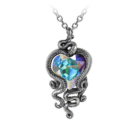 Pewter Octopus Crystal Heart Necklace-Cthulhu Pendant from Alchemy Gothic 1977
