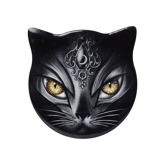 Black Cat Coaster / Gothic Sacred Cat Ceramic Coaster Alchemy Gothic 1977