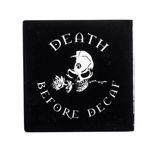 Death before Decaf Skull Coaster / Gothic Ceramic Coaster Alchemy Gothic 1977