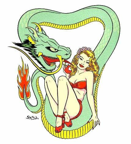 Kustom Kulture Pin-up Girl Evil Serpent Sticker
