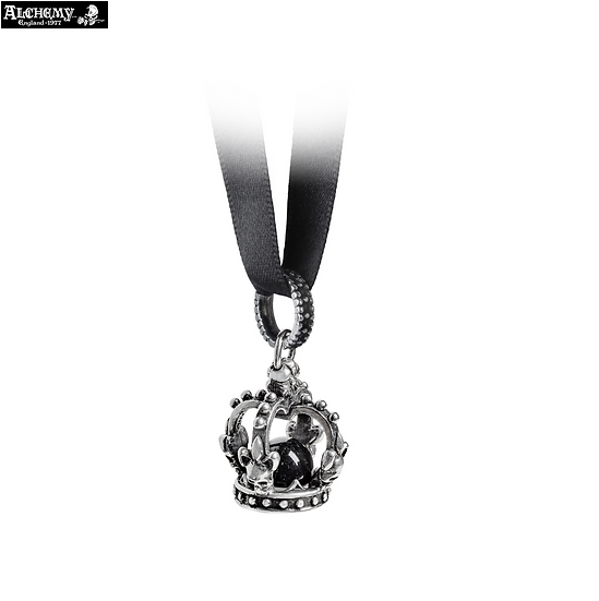 Alchemy Gothic Black Crystal Ball Skull Crown Necklace / Black Ribbon Necklace