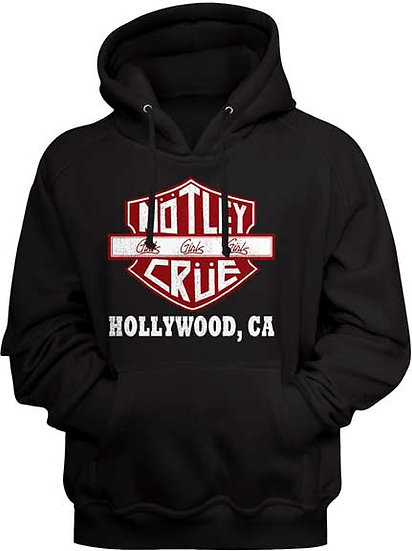 Motley Crue Hoodie / Crue Hollywood, California Rock Hooded Sweatshirt