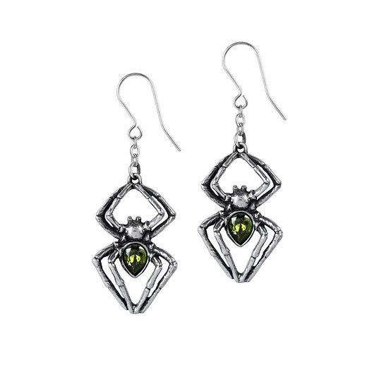 Green Crystal Pewter Spider Earrings / Venom Earrings