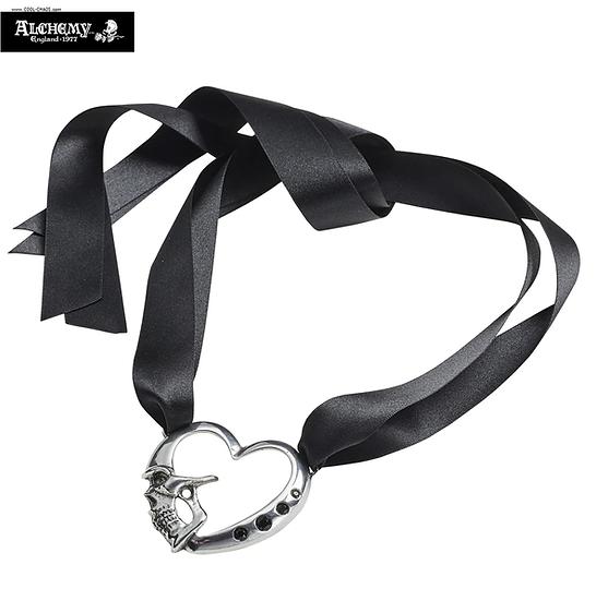 Pewter Skull Black Crystal Heart Choker Necklace