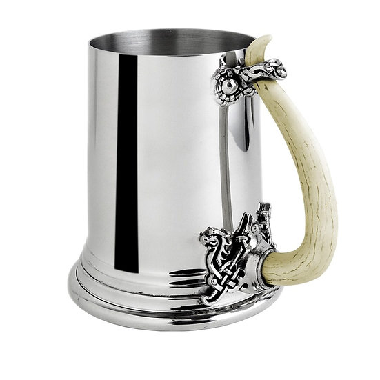 Viking Horn Pewter Tankard / Pint Pewter Brew Mug
