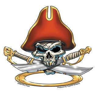Pierced Pirate Skull Sticker