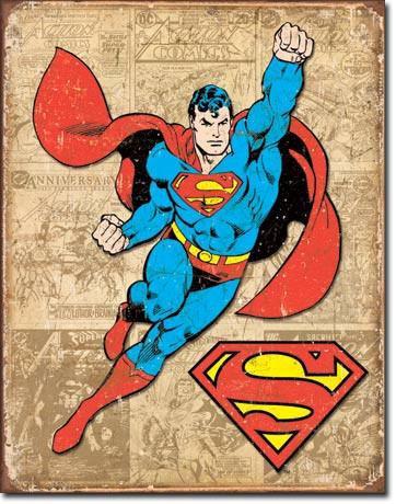 Superman Comic Book Tin Sign