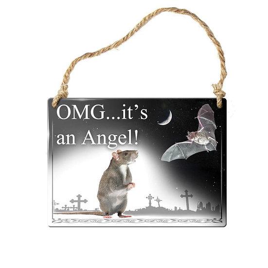 Vampire Bat Mouse Angel Mini Door Sign