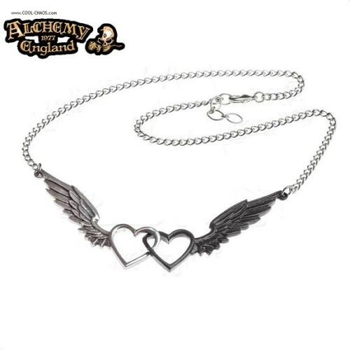 Heart Dark Heart Wings Hearts Necklace / Double Hearts,Valentine's Day Necklace