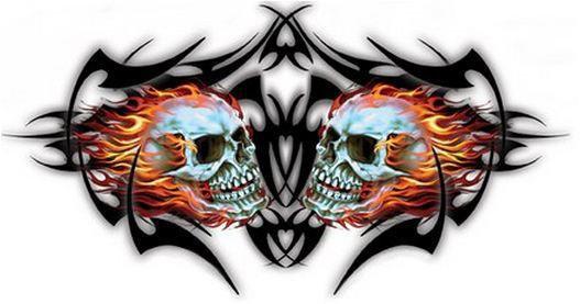 Black Tribal Ink Flaming Skulls Sticker