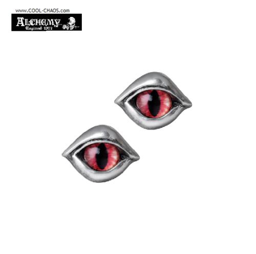 Satan Eyes Devil Earrings / Pewter Glass Eye Studs Earrings