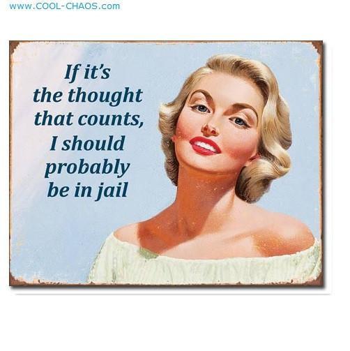 I should be in jail lady - Funny Ephemera Tin Sign