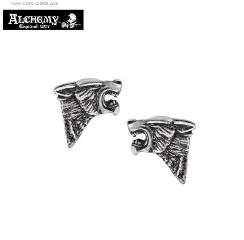 Dark Wolf Earrrings / Pewter Wolf Stud Earrings by Alchemy Gothic 1977