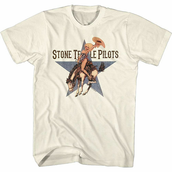 STONE TEMPLE PILOTS T-SHIRT / LICENSED STP 'COWGIRL PINUP' RIDIN BRONCO ROCK TEE